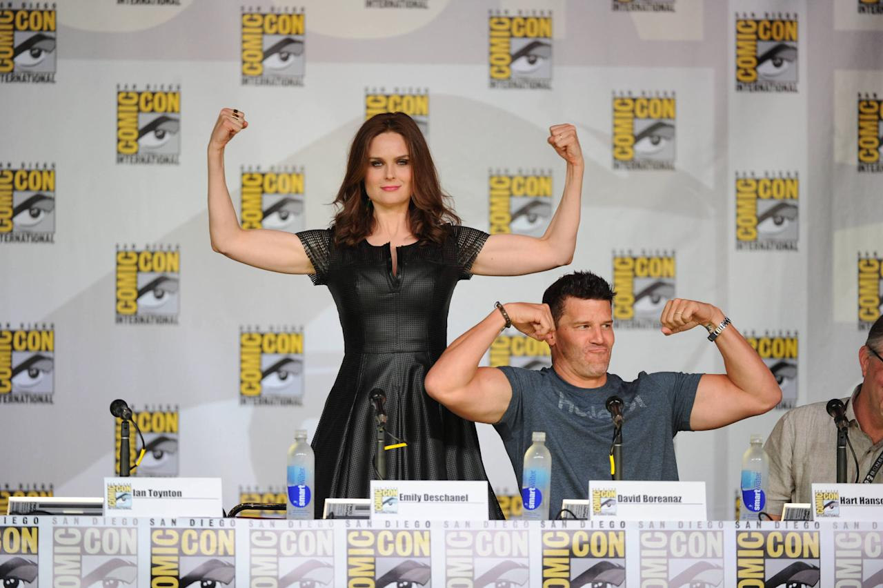 """Emily Deschanel and David Boreanaz at the """"Bones"""" panel on Friday, July 19 during Fox Fanfare at San Diego Comic-Con 2013."""