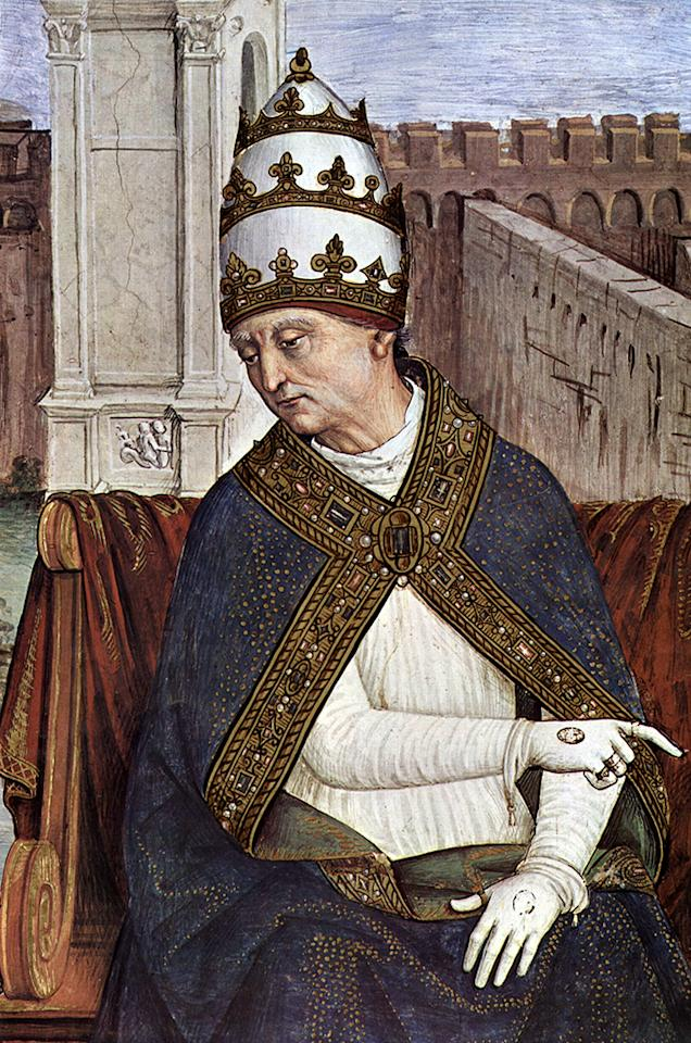 "Pope Pius II (Eneas ""Enee"" Silvio Piccolomini 1405-1464), fresco by Pinturicchio for ""Libreria Piccolomini"", cathedral of Siena"