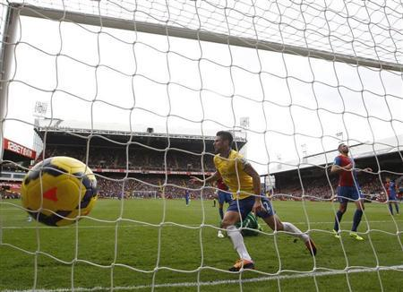 Olivier Giroud of Arsenal celebrates scoring against Crystal Palace during their English Premier League soccer match at Selhurst Park, London