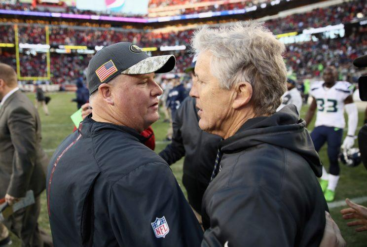 Chip Kelly didn't last long enough in San Francisco to forge a rivalry with Seattle's Pete Carroll. (Getty Images)