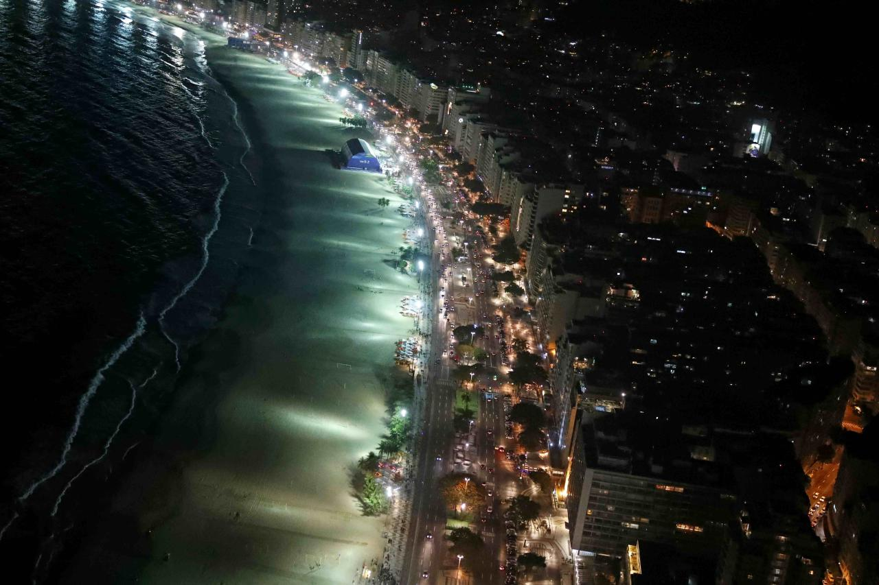 An aerial view of the Copacabana beach and neighborhood in Rio de Janeiro, Brazil, less than two weeks before the start of the Rio 2016 Olympic Games, July 23, 2016.  REUTERS/Pawel Kopczynski TPX IMAGES OF THE DAY
