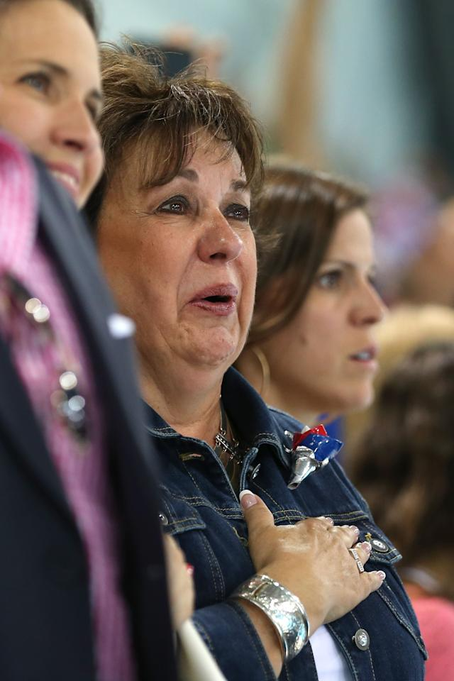 Debbie Phelps, the mother of Michael Phelps of the United States stands during the night session of swimming on Day 3 of the London 2012 Olympic Games at the Aquatics Centre on July 30, 2012 in London, England.  (Photo by Quinn Rooney/Getty Images)