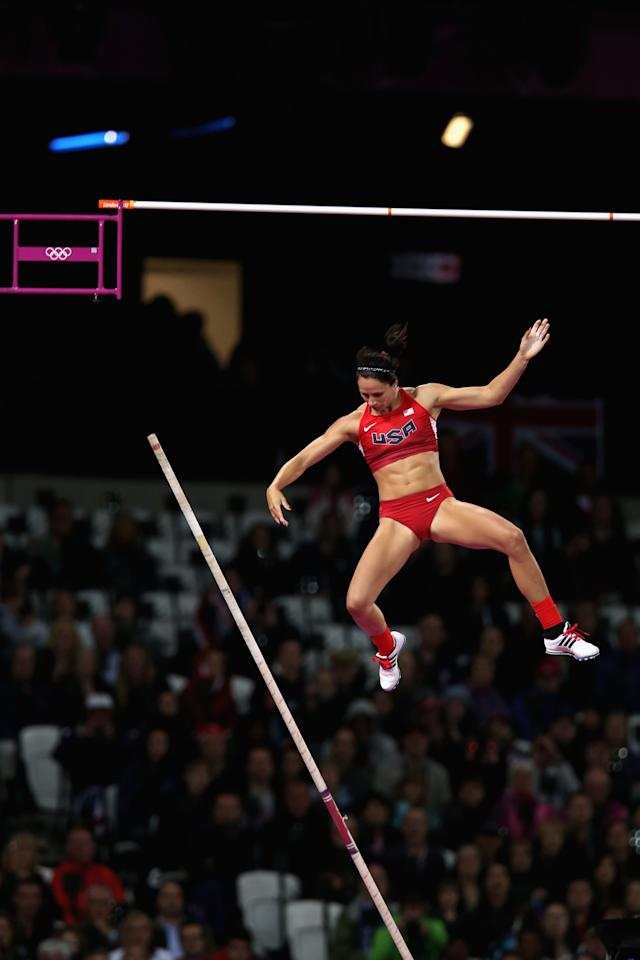 LONDON, ENGLAND - AUGUST 06:  Jennifer Suhr of the United States competes in the Women's Pole Vault final on Day 10 of the London 2012 Olympic Games at the Olympic Stadium on August 6, 2012 in London, England.  (Photo by Hannah Johnston/Getty Images)