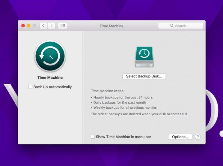 Mac Time Machine app.