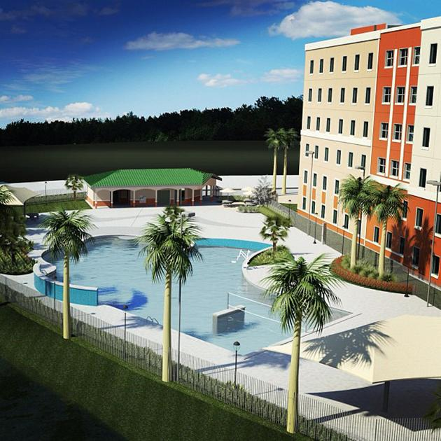 Check out this artist rendering of #FGCU's new #resort style #pool at #SoVi (next to #ospreyhall). Opening in August 2013!
