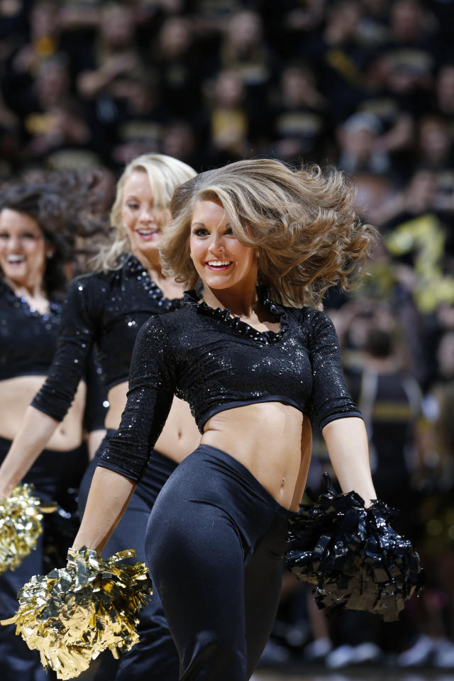 COLUMBIA, MO - FEBRUARY 19: Missouri Tigers cheerleader performs during the game against the Florida Gators at Mizzou Arena on February 19, 2013 in Columbia, Missouri. Missouri won 63-60. (Photo by Joe Robbins/Getty Images)