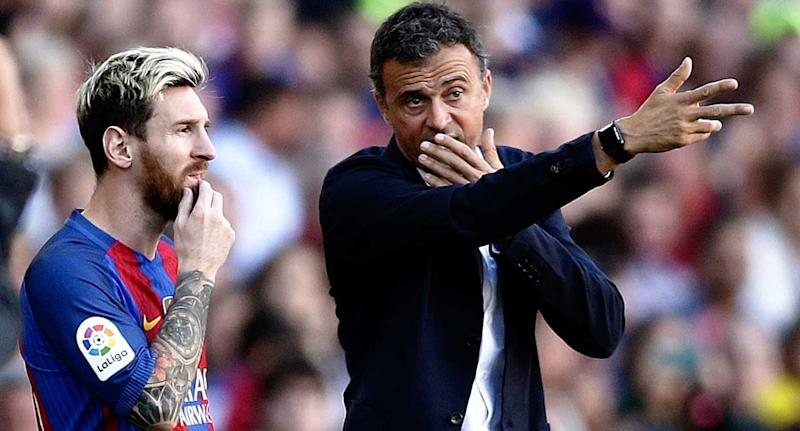 Image result for lionel messi conversating with luis enrique