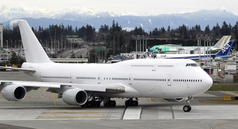 This Boeing 747-8 Intercontinental jetliner, the first VIP-configured aircraft, rolls out for an undisclosed customer for takeoff from Paine Field in Everett, Washington