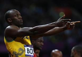 Usain Bolt focused on the end of his race. (Reuters)