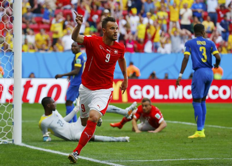 Switzerland's Seferovic celebrates after scoring a goal to defeat Ecuador in their 2014 World Cup Group E soccer match at the Brasilia national stadium in Brasilia