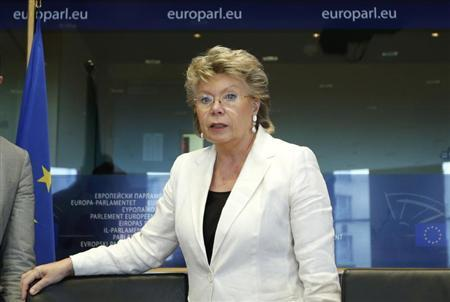 E.U. Justice Commissioner Reding arrives to address the European Parliament's Committee on civil liberties, justice and home affairs in Brussels
