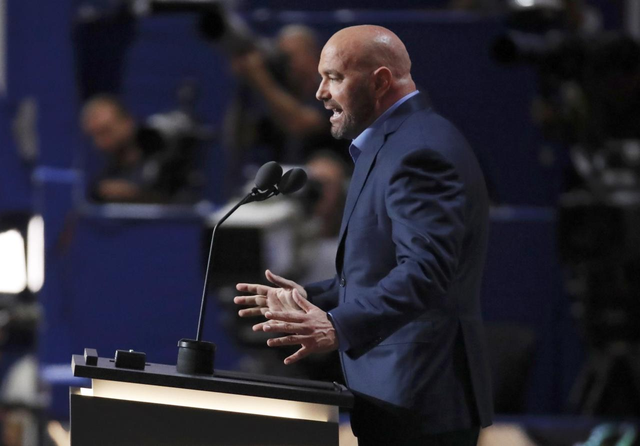 Dana White, president of Ultimate Fighting Championship (UFC,) speaks about Republican Presidential Nominee Donald Trump at the Republican National Convention in Cleveland, Ohio, U.S. July 19, 2016. REUTERS/Jim Young