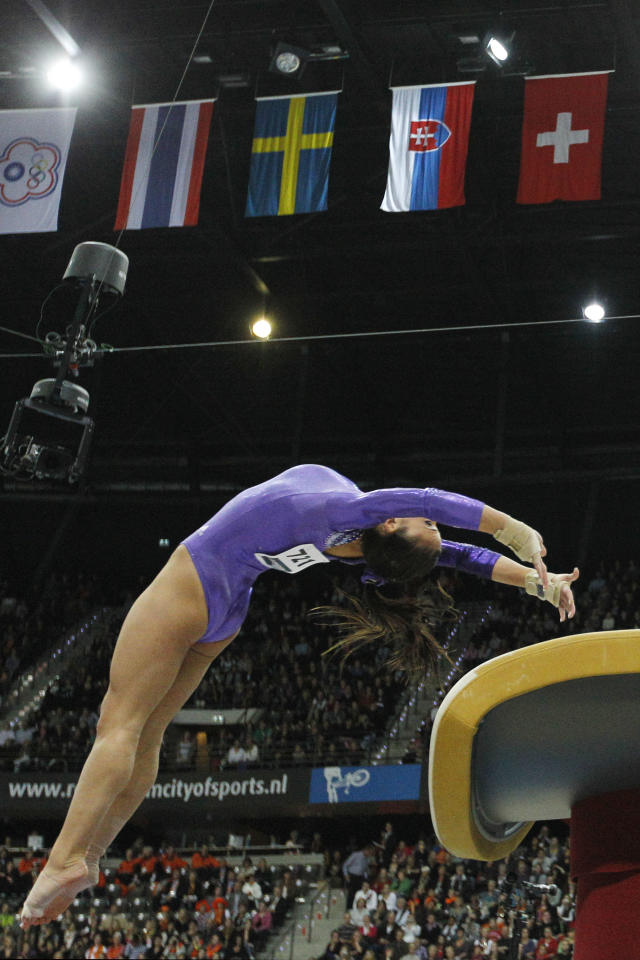 Gold medallist Alicia Sacramone of the U.S. performs during the women's vault final of the World Championships Gymnastics in Rotterdam, Netherlands, Saturday Oct. 23, 2010.