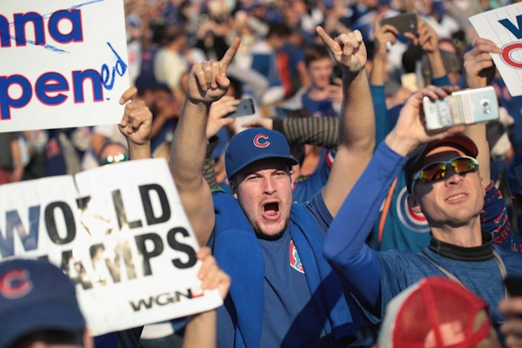 CHICAGO, IL - Chicago Cubs fans attend a rally in Grant Park to celebrate the team's World Series victory on November 4, 2016 in Chicago, Illinois. (Photo by Scott Olson/Getty Images)
