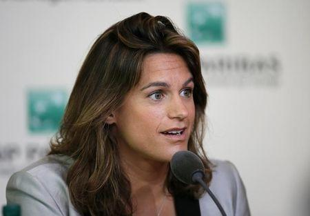 Former French tennis player Amelie Mauresmo speaks during a news conference at the French Open Tennis tournament at the Roland Garros stadium in Paris