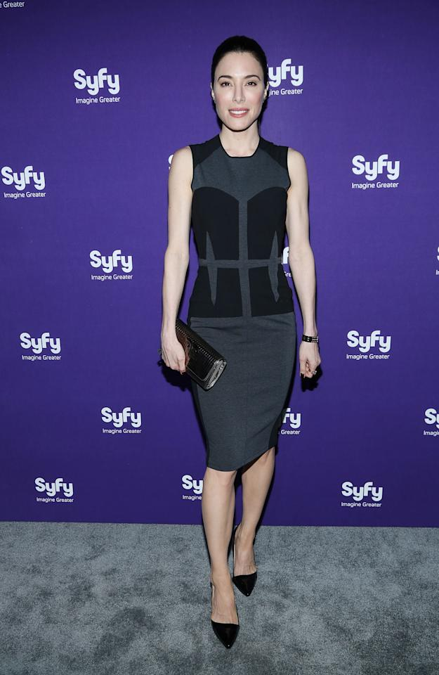"""NEW YORK, NY - APRIL 10:  Jaime Murray of """"Defiance"""" attends Syfy 2013 Upfront at Silver Screen Studios at Chelsea Piers on April 10, 2013 in New York City.  (Photo by Rob Kim/Getty Images)"""