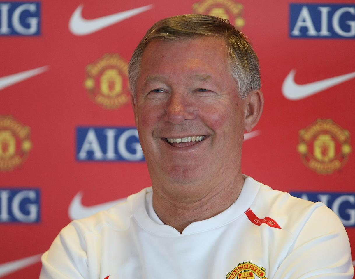 MANCHESTER, ENGLAND - SEPTEMBER 21:  Sir Alex Ferguson of Manchester United speaks during a pre-match press conference at Carrington Training Ground on September 14 2007, in Manchester, England. (Photo by Matthew Peters/Manchester United via Getty Images)