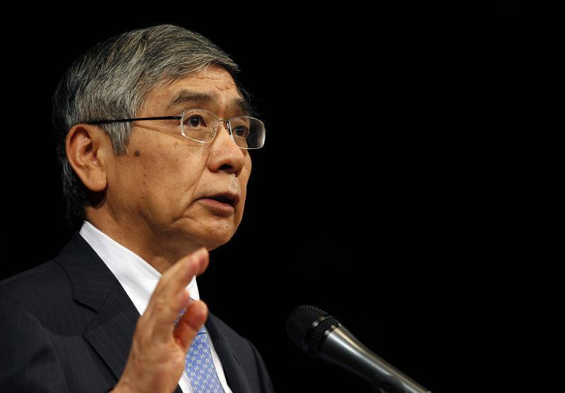 Bank of Japan Governor Haruhiko Kuroda gives his speech during a seminar in Tokyo