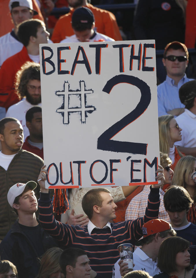 Auburn fans display their sentiments about second ranked Alabama prior to an NCAA college football game at Jordan-Hare Stadium in Auburn, Ala., Saturday, Nov. 26, 2011. (AP Photo/Dave Martin)