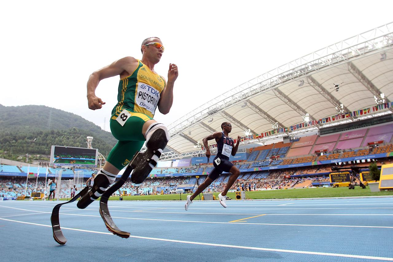 Oscar Pistorius of South Africa competes in the men's 400 metres heats during day two of the 13th IAAF World Athletics Championships at the Daegu Stadium on August 28, 2011 in Daegu, South Korea. (Michael Steele/Getty Images)
