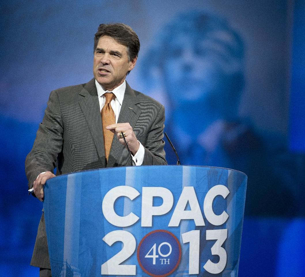 Texas Gov. Rick Perry speaks at the 40th annual Conservative Political Action Conference in National Harbor, Md., Thursday, March 14, 2013. (AP Photo/Manuel Balce Ceneta)