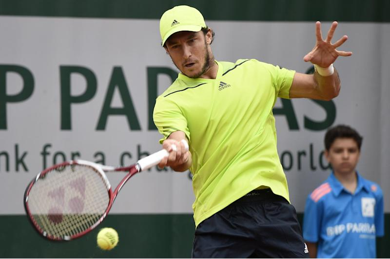 Argentina's Juan Monaco during the French tennis Open at the Roland Garros stadium in Paris on May 29, 2014