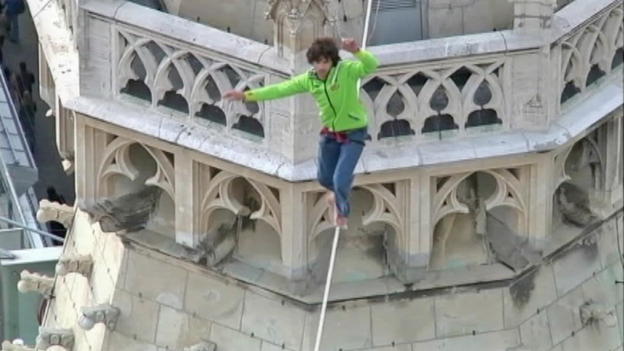 <p>A daredevil became the first man to walk a tightrope strung between the two towers of St. Stephen's Cathedral.</p>