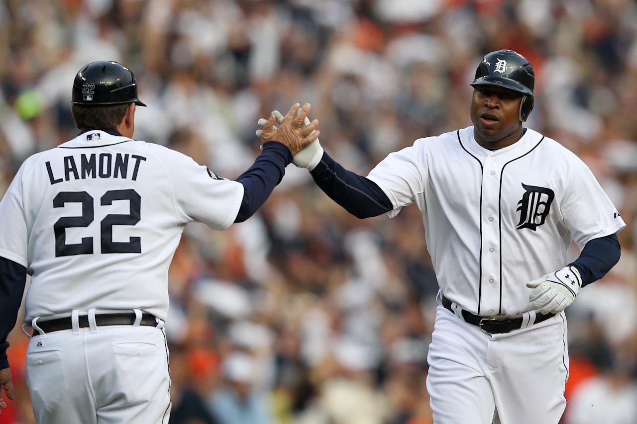 DETROIT, MI - OCTOBER 13:  Delmon Young #21 of the Detroit Tigers celebrates after hitting a solo home run in the fourth inning of Game Five of the American League Championship Series against the Texas Rangers at Comerica Park on October 13, 2011 in Detroit, Michigan.  (Photo by Leon Halip/Getty Images)