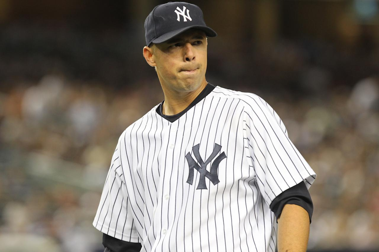 New York Yankees' Javier Vazquez during the sixth inning of the baseball game between the New York Yankees and the Seattle Mariners Wednesday, June 30, 2010, at Yankee Stadium in New York. (AP Photo/Seth Wenig)