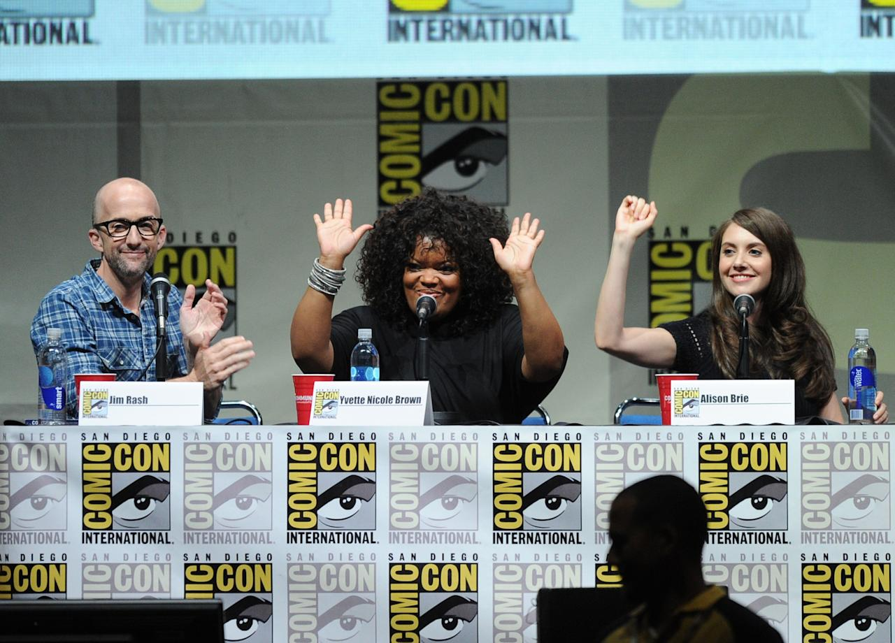 """SAN DIEGO, CA - JULY 21: (L-R) Actors Jim Rash, Yvette Nicole Brown and Alison Brie speak onstage at the """"Community"""" celebrating the fans during Comic-Con International 2013 at San Diego Convention Center on July 21, 2013 in San Diego, California. (Photo by Kevin Winter/Getty Images)"""