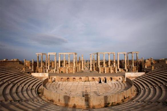 A view of Leptis Magna, a UNESCO World Heritage site on the Mediterranean coast of North Africa, some 120 km (75 miles) east of Tripoli, November 8, 2011. Libya was home to thriving Roman outposts beginning around the first century A.D. One Roman emperor, Septimius Severus, was born in Leptis Magna, on the site of the modern Libyan town of Khoms. He turned his hometown into a model Roman city and large parts of it are still intact.