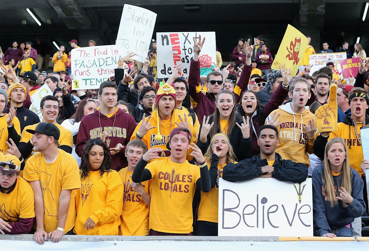 TEMPE, AZ - DECEMBER 07: Fans of the Arizona State Sun Devils cheer before the Pac 12 Championship game against the Stanford Cardinal at Sun Devil Stadium on December 7, 2013 in Tempe, Arizona. (Photo by Christian Petersen/Getty Images)