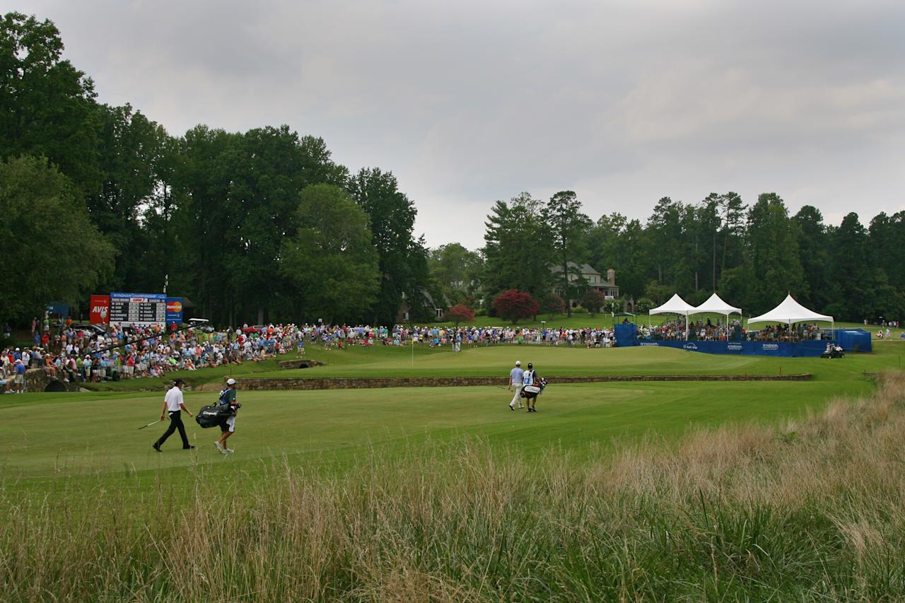 GREENSBORO, NC - AUGUST 18: A scenic view of the seventh hole during the third round of the Wyndham Championship at Sedgefield Country Club on August 18, 2012 in Greensboro, North Carolina. (Photo by Hunter Martin/Getty Images)