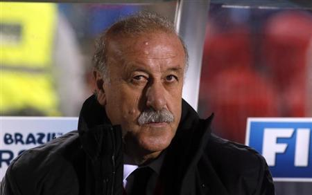 Spain's coach del Bosque sits in the bench before their 2014 World Cup qualifying soccer match against Belarus in Spain