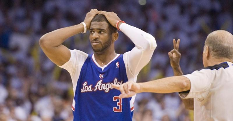Los Angeles Clippers' guard Chris Paul can't believe they officials called a foul as Oklahoma City Thunder's guard Russell Westbrook  shooting a 3-point shot during the second half in Game 5 of the NBA Western Conference semi-finals at the Chesapeake Arena in Oklahoma City on Tuesday, May 13, 2014