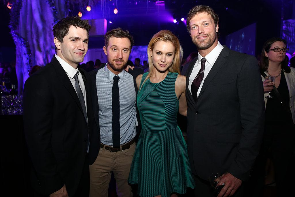 """Sam Witwer, Sam Huntington, Kristen Hager (""""Being Human"""") and Adam Copeland (""""Haven"""") attend the Syfy 2013 Upfront at Silver Screen Studios at Chelsea Piers on April 10, 2013 in New York City."""