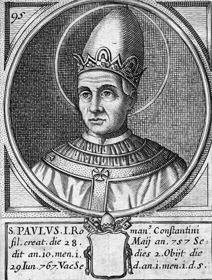 Circa 760 AD, Engraving of Pope Paul I ( - 767). (Photo by Hulton Archive/Getty Images)