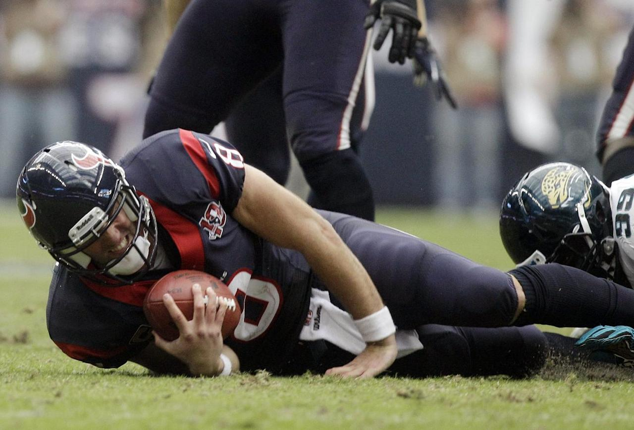Houston Texans quarterback Matt Schaub reacts after being sacked by Jacksonville Jaguars' C.J. Mosley (99) during the third quarter of an NFL football game on Sunday, Nov. 18, 2012, in Houston. (AP Photo/Patric Schneider)