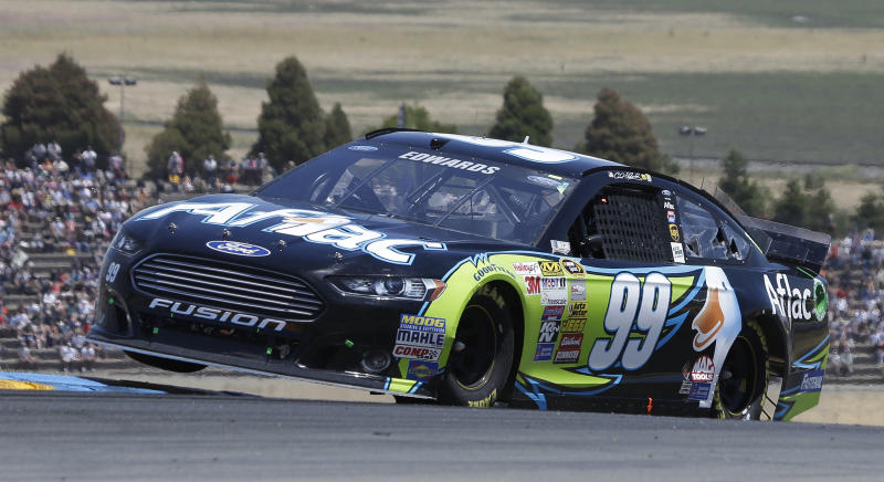 Carl Edwards competes during the NASCAR Sprint Cup Series auto race on Sunday, June 22, 2014, in Sonoma, Calif