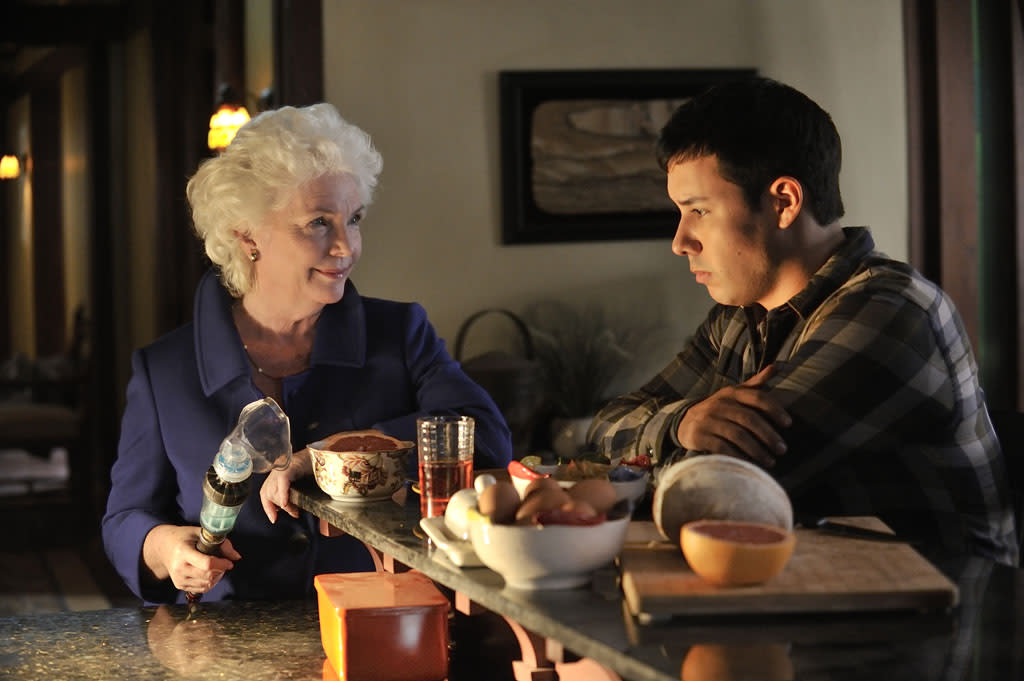 "Fionnula Flanagan as Nicky and Justin Rain as Quentin McCawley in the ""Defiance"" episode, ""Good Bye Blue Sky."""