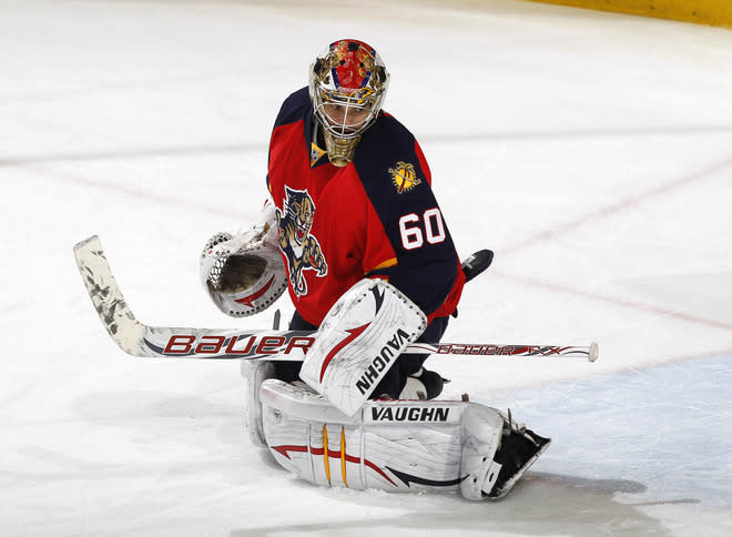 SUNRISE, FL - APRIL 26: Goaltender Jose Theodore #60 of the Florida Panthers warms up prior to the game against the New Jesey Devils in Game Seven of the Eastern Conference Quarterfinals during the 2012 NHL Stanley Cup Playoffs at the BankAtlantic Center on April 26, 2012  in Sunrise, Florida. (Photo by Joel Auerbach/Getty Images)