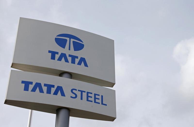 The Tata Steel logo is seen at the Tata Steel rails factory in Hayange