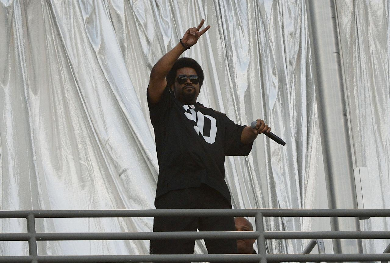 OAKLAND, CA - SEPTEMBER 10:  Actor and rapper Ice Cube performs before the season opener of an NFL football game between the San Diego Chargers and Oakland Raiders at Oakland-Alameda County Coliseum on September 10, 2012 in Oakland, California.  (Photo by Thearon W. Henderson/Getty Images)