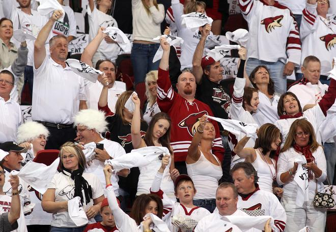 Phoenix Coyotes Fans Cheer On Their Team In The First Period While Taking On The Los Angeles Kings In Game Five Of Getty Images