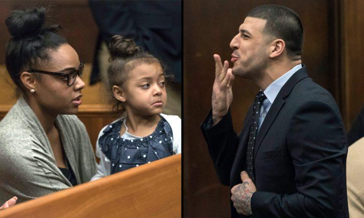 Hernandez blew a kiss to his daughter just a few days ago in court....