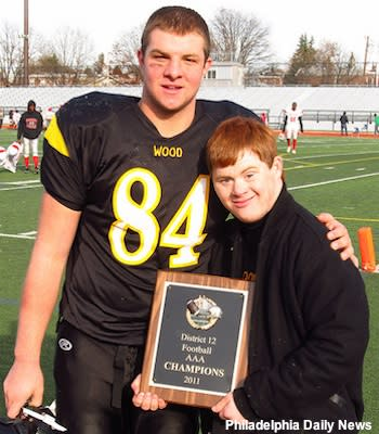Archbishop Wood tight end Colin Thompson and John Shulby