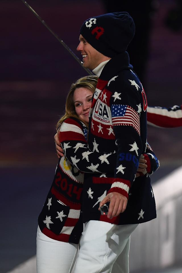 SOCHI, RUSSIA - FEBRUARY 07: Members of the United States Olympic team hug during the Opening Ceremony of the Sochi 2014 Winter Olympics at Fisht Olympic Stadium on February 7, 2014 in Sochi, Russia. (Photo by Pascal Le Segretain/Getty Images)