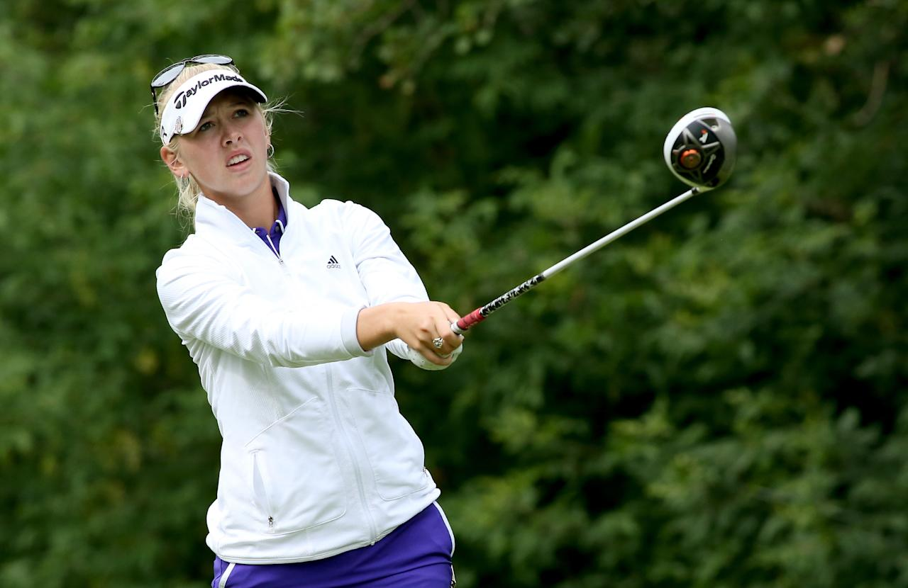 EDMONTON, AB - AUGUST 25: Jessica Korda watches her tee shot on the fifth hole during the final round of the CN Canadian Women's Open at Royal Mayfair Golf Club on August 25, 2013 in Edmonton, Alberta, Canada. (Photo by Stephen Dunn/Getty Images)