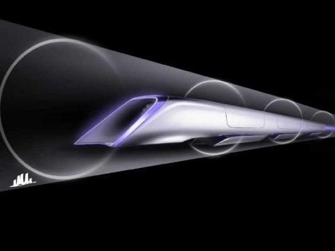 Hyperloop passenger transport capsule conceptual design rendering