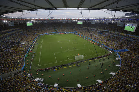 General view shows Maracana stadium during the 2014 World Cup round of 16 game between Uruguay and Colombia in Rio de Janeiro